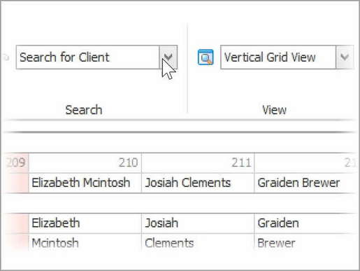 Advanced client search dropdown