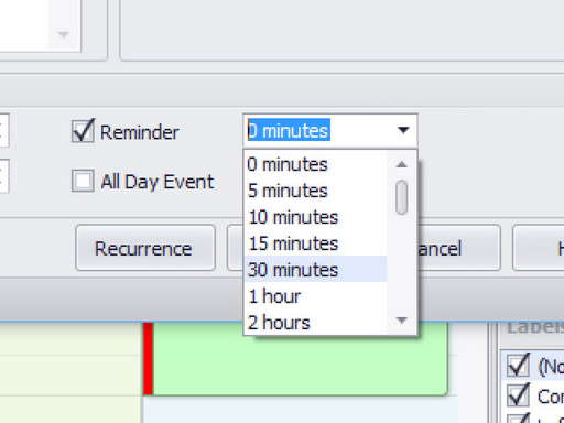 Pop-up reminder at specified interval before an appointment
