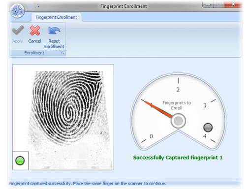 Biometric enrollment for fingerprint clock in